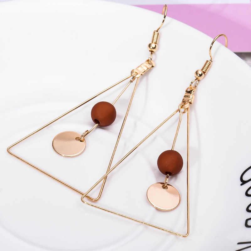 Big Dangle Earrings Long Tassel Hollow Triangle Drop Earring For Women Wooden Beads Simulated Pearl Crystal Eardrop Ear Jewelry
