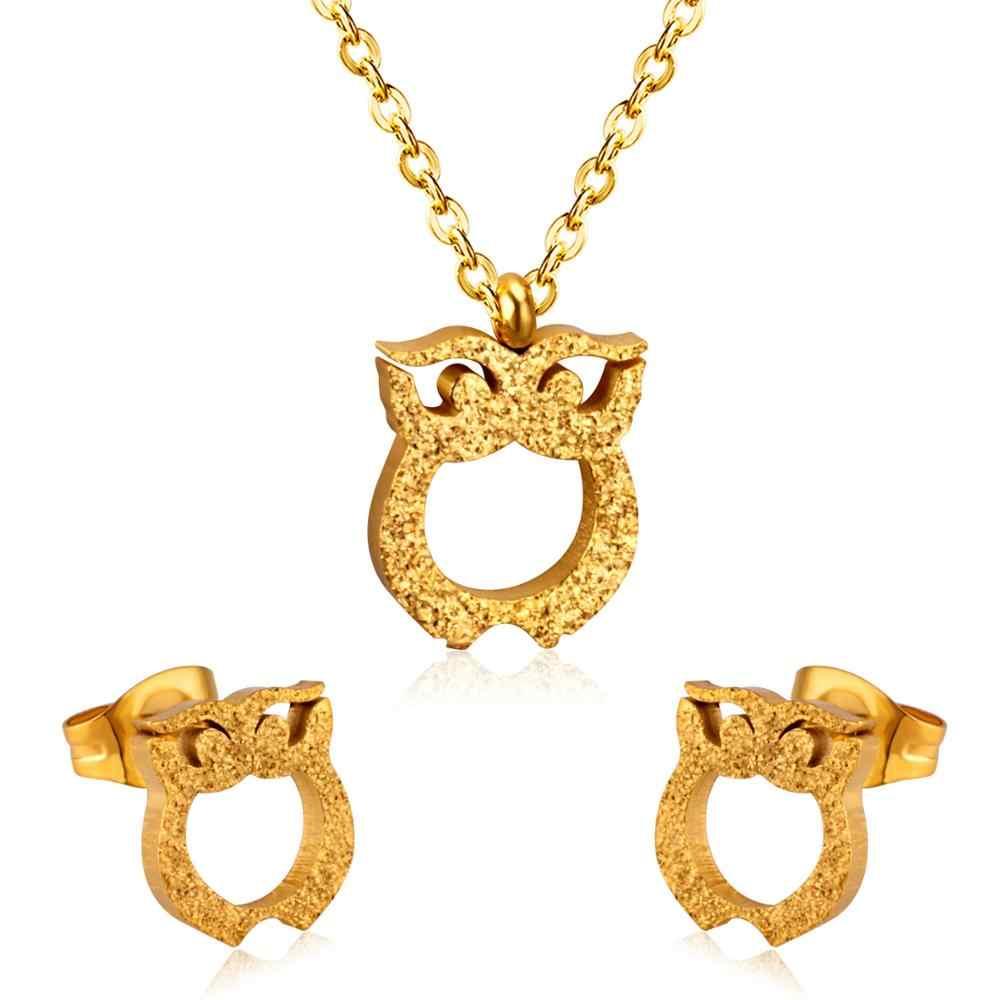 ASONSTEEL Coruja Conjuntos de Jóias Cúbicos de Zircônia Para As Mulheres/Da Menina de Ouro/Elo Da Cadeia Cubano Prata Brincos Moda Do Parafuso Prisioneiro Collier bijoux