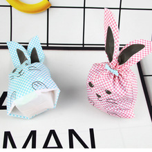 50pcs/lot Pink and Blue Cute rabbit ear cookie bags Self-adhesive Plastic Bags for Biscuits Snack Baking Package food bag party стоимость