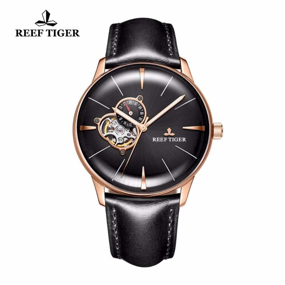 Nueva Reef Tiger/RT relojes automáticos de los hombres relojes Tourbillon lente convexa relojes de lujo de oro rosa relojes correa de cuero RGA8239