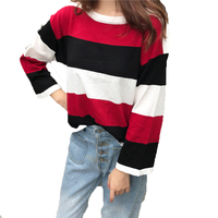 Patchwork Women Sweaters And Pullovers Harajuku Kawaii Winter Preppy Style Ladies Knitwear Cute Loose Autumn Outwear
