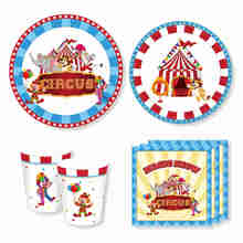 Circus Party Decorations Disposable Tableware Set Animal Table Centerpiece Supplies Blue Monkey Elephant
