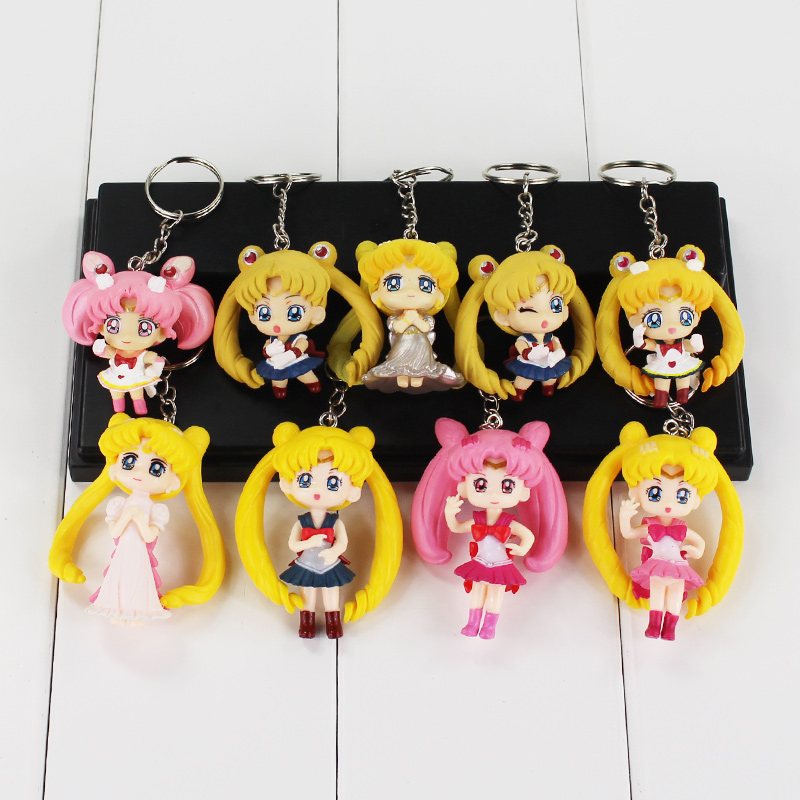 Anime Sailor Moon Key Chain Mars Jupiter Venus Mercury Key Chains PVC Figure Toys Keyring Bag Pendants Gift for Kids ...