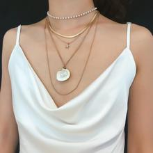 Summer Trendy Women Big Chain Shell Star Pearl Necklace For Women Body Statement Jewelry Braided Metal Necklace