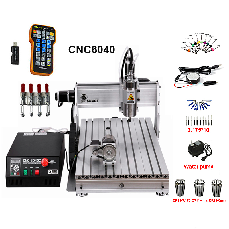 CNC6040 Milling Machine 2.2KW Water Cooled Spindle 4Axis Metal Engraving Machine With Limit Switch And Remote