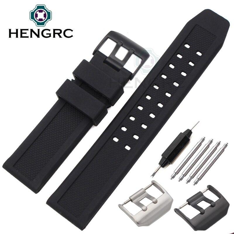 все цены на New 23mm Silicone Watch Strap Men Sport Waterproof Black Watchbands For Luminox Accessories Stainless Steel Black Silver Buckle онлайн
