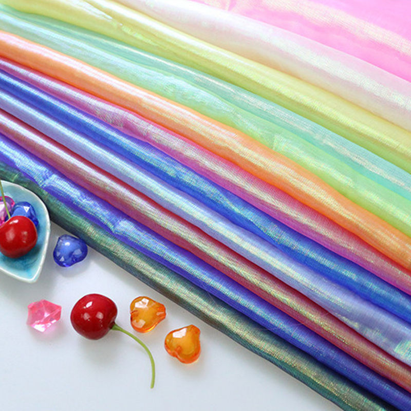 Stage costume costume wedding decor 2019 New Colorful Glass Cloth Yarn Fluorescent Clothing Network Transparent Gauze L94 in Fabric from Home Garden