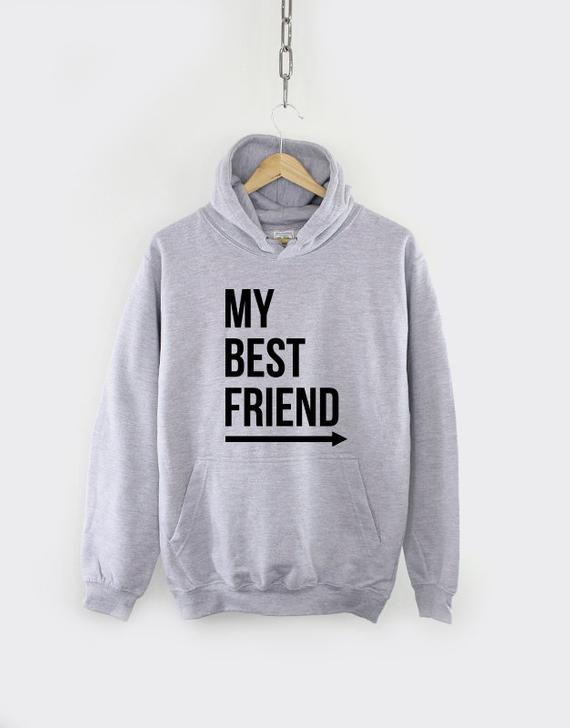 My Best Friends Long Sleeve Casual Tops Black BFF Matching Hoodies