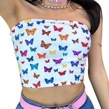 f047037e81696 D'été Femmes t-shirts sexy Bretelles bustier Imprimé Mode D'été Streetwear  Encolure crop top