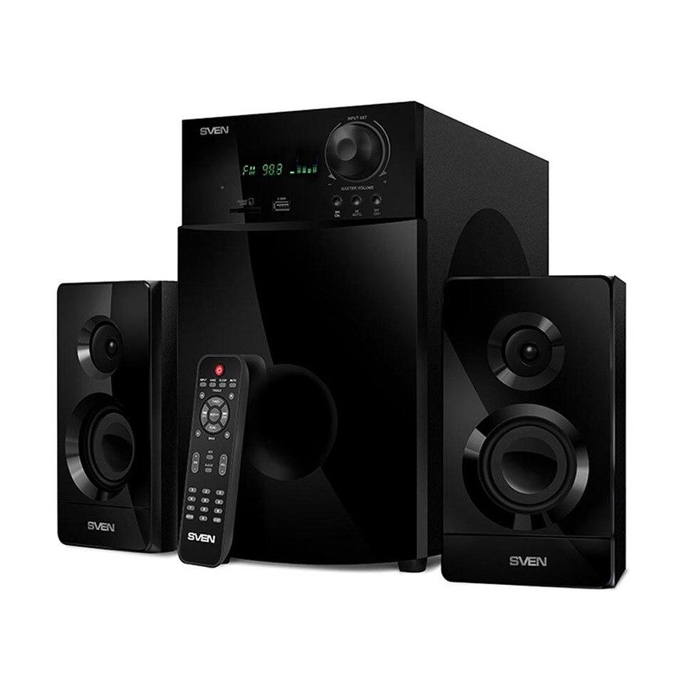 Купить со скидкой Колонки 2.1 ( с сабвуфером) AC MS-2100, черный (80Вт, FM-тюнер, USB/SD, дисплей, ПДУ)