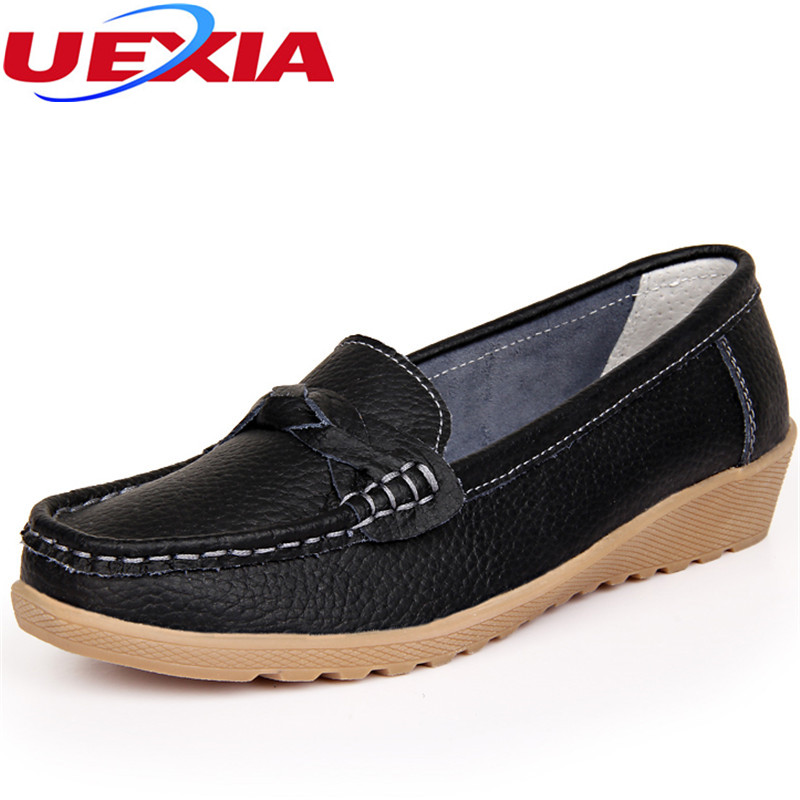 Fashion Leather Women Shoes Flats Moccasins Loafers Driving Casual Ballet Round Toe Leisure Concise Footwear Peas Non-Slip Shoes