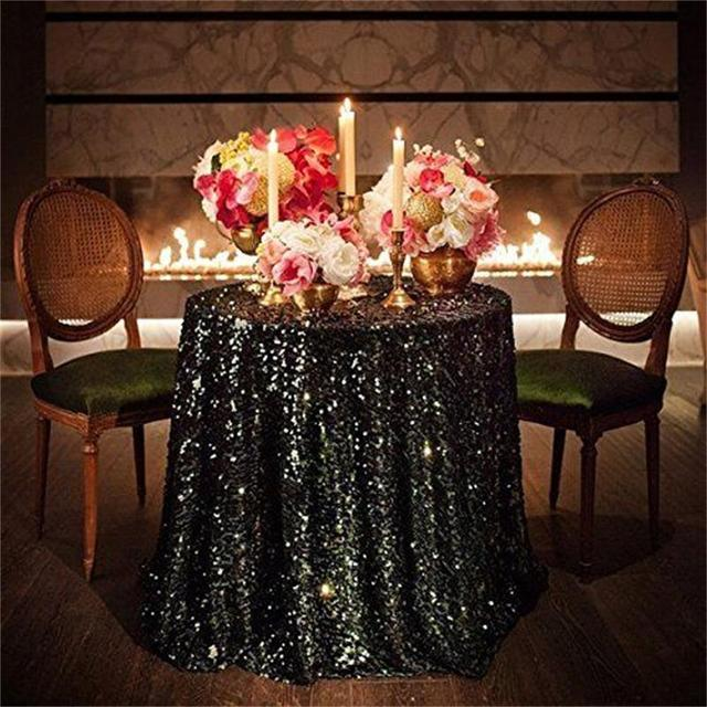 48 Inch Round Black Sequin TableCloth Wedding Beautiful Black Sequin Table  Cloth / Overlay /Cover