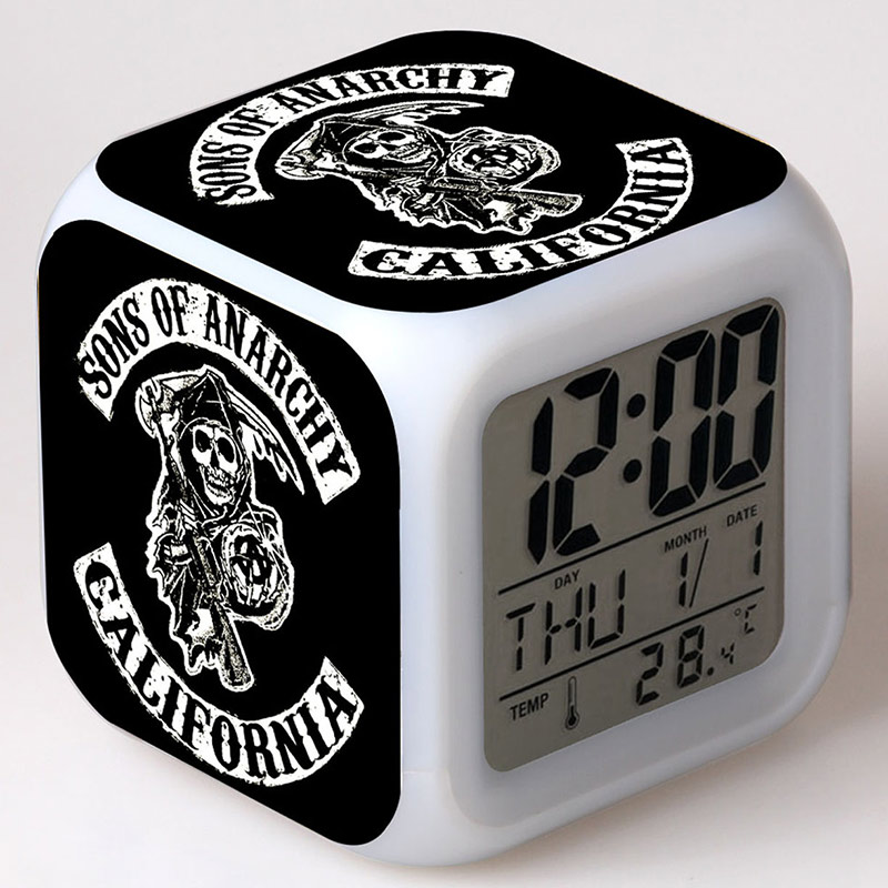 Sons of Anarchy Figurine LED Alarm Clock Glow Colorful Touch Lights PVC Action Figure Collect Toys