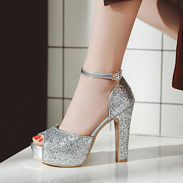 0697c48d378 WETKISS 2019 Summer Super High Heels Women Sandals Bling Peep Toe Ankle  Strap Footwear Platform Wedding Female Gladiator Shoes
