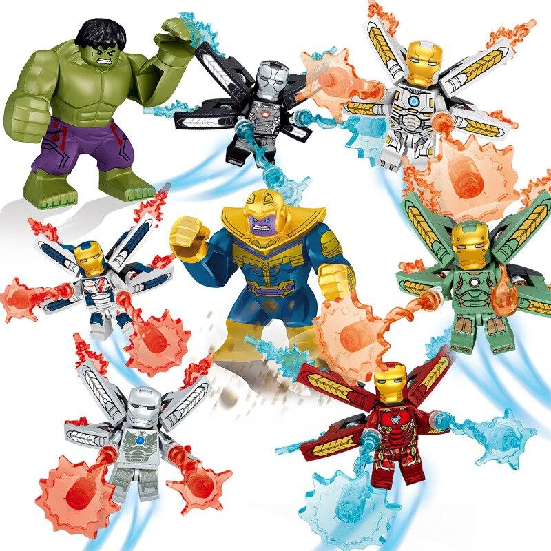 8 pc/lot blocs de construction pour enfants jouet Compatible Legoings marvel super-héros Iron Man Thanos Hulk figurines briques cadeaux d'anniversaire