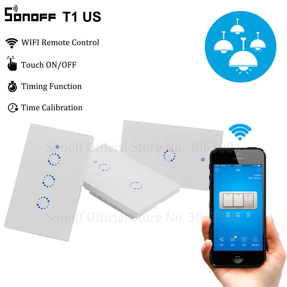 Sonoff T1 US Smart Wifi Wall Light Switch 1 2 3 Gang Touch/WiFi/315 RF/APP Remote Smart Home Wall Touch Switch Works with Alexa(China)