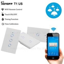 Interruptor de luz de pared inteligente Sonoff T1 US Wifi 1 2 3 Gang Touch/WiFi/315 RF/APP Remote Smart Home el Interruptor táctil de pared funciona con Alexa