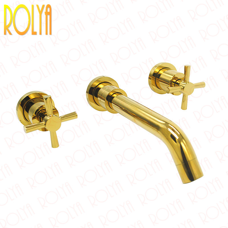 Double Cross Handles Golden Bathroom Faucet In Wall Mounted Basin Mixer Tap Set 2018 Top Fashion New Arrival ouboni 3pcs set bathtub luxury golden plated bathroom faucet european split basin mixer tap ceramic faucet body cross handles
