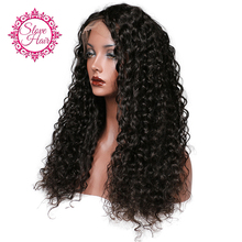 Slove Glueless Lace Front Human Hair Wigs For Women Curly Black Color Human Hair Wigs With Short Remy Baby Hair Full End(China)