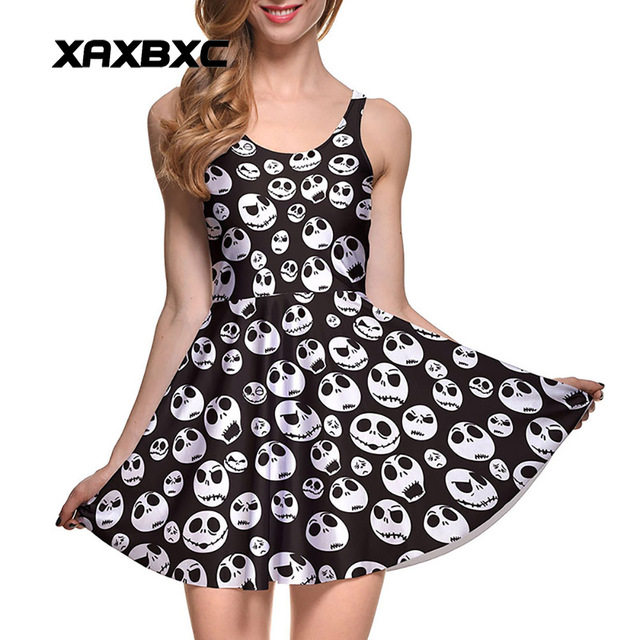 NEW 1087 Sexy Girl Women Summer The Nightmare Before Christma Skull Jake 3D Prints Reversible Sleeveless Skater Pleated Dress