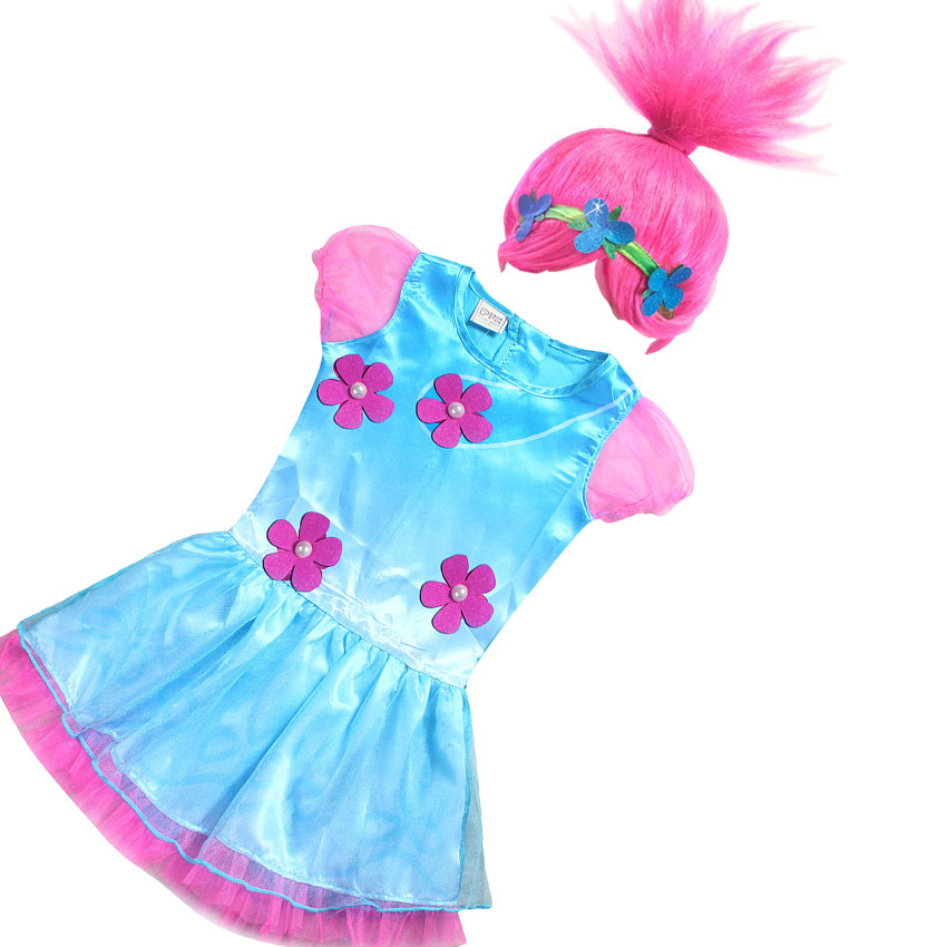 High quality New Trolls Lace Dress and trolls hairs baby girls trolls costume dress pretty trolls clothes