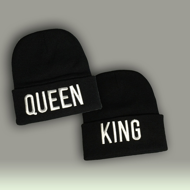 KING QUEEN 3D Embroidery Beanies Winter Acrylic Gifts for Him Her Adult Men Women 2 Pieces each Set Free Shipping