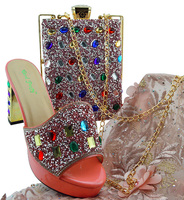 New Arrival Pink Color Shoes and Handbag Set Decorated with Rhinestones High Quality Italian Shoe and Matching Bag Set MD002