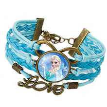 Hot Elsa Anna Princess Portrait Cabochon Infinite Crystal Love Leather Bracelet For Girls Women Movie Jewelry  Christmas Gift