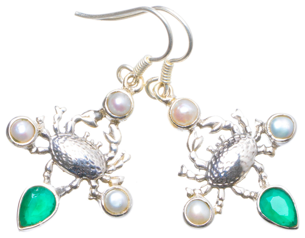 Natural Chrysoprase and River Pearl Handmade Unique 925 Sterling Silver Earrings 1.75