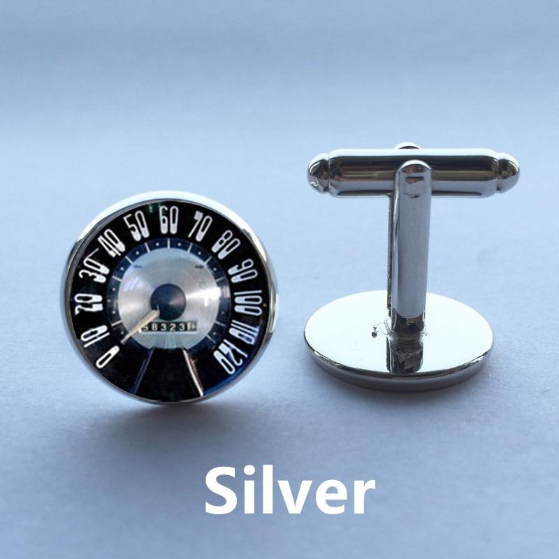 1 pair Free Shipping Glass Cufflinks Speedometer Cufflinks Retro Vintage Car Speedtest cuff link sliver black round cufflinks ...