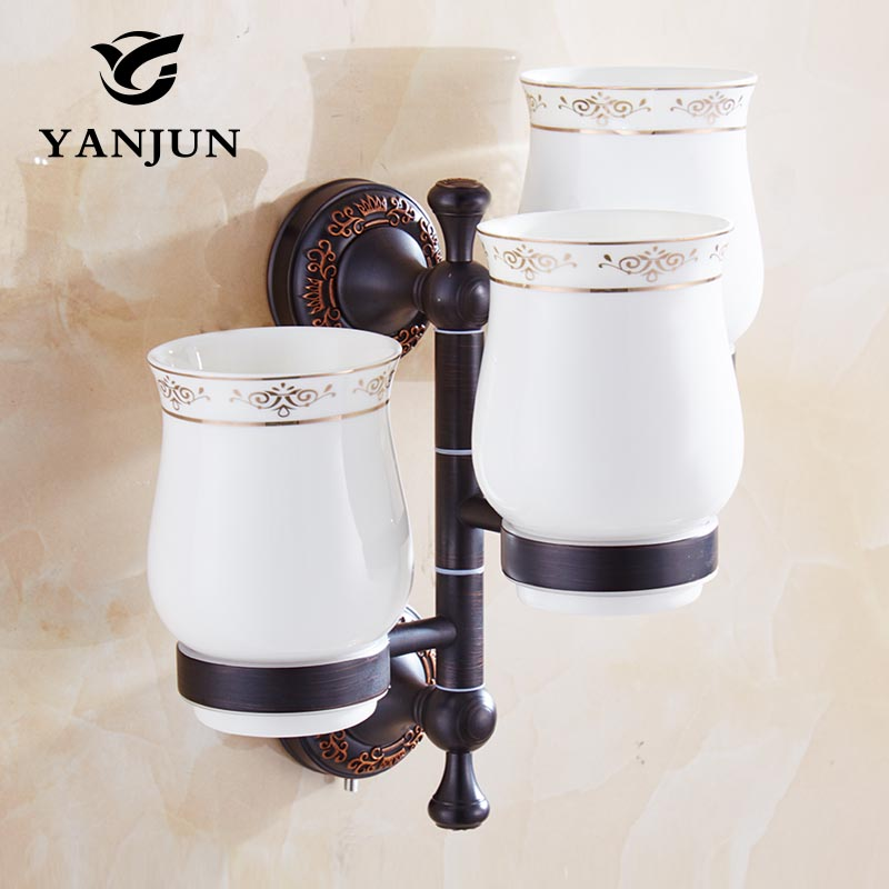 Yanjun Three Cup Holders Wall Mounted Toothbrush Cup Holder Bathroom Accessories Activities Cup Holder YJ-7863 2017 latest model rubber spray technology black single tumbler cup holder toothbrush holder bathroom accessory