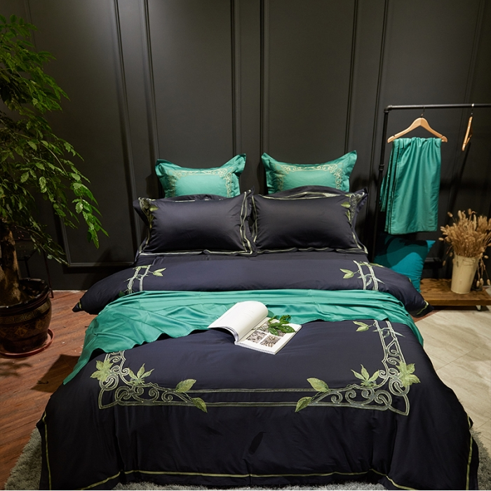 4 6 Pieces Egyptian Cotton Embroidery Bed Set Black White Luxury Bedding Sets King Duvet Cover Sheet