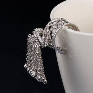 Image 3 - Женское кольцо с короной и кисточками, роскошное Королевское регулируемое кольцо с фианитом высшего качества, AR014