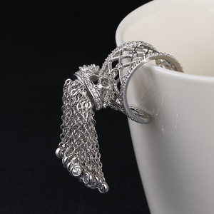 Image 3 - Luxury Royal Tassel Crown Rings For Women With Top Quality Cubic Zircon Adjustable Tassel Ring bague femme AR014