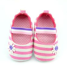 0-18 Month Baby Girl Canvas Striped Soft Sole Shoes Crib Sho