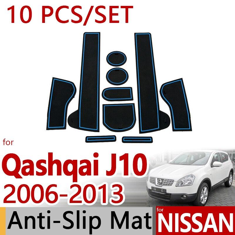 Für Nissan Qashqai J10 2006-2013 Anti-Slip Gummi Tasse Kissen Tür Matte 10 stücke Dualis 2010 2011 zubehör Auto Styling Aufkleber