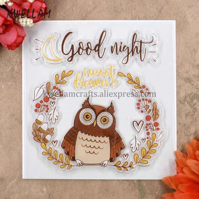OWL Good Night Sweet Dreams Scrapbook DIY Photo Cards Rubber Stamp Clear  Stamp Transparent Stamp 10.5