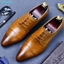 QYFCIOUFU Mens Genuine Leather Shoes High Quality Dress Shoes Business Wedding Fashion Oxfords Lace Up Pointed Toe Flats цена 2017