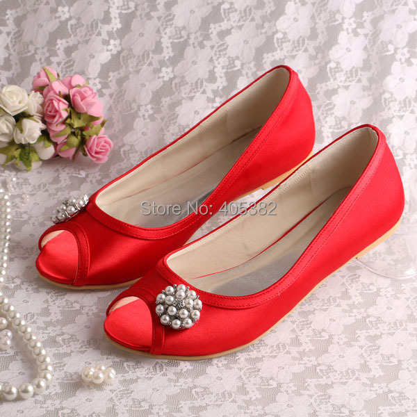 (20 Colors)Ladies Wholesale China Pearl Elegant Flat Shoes Ballet Red Satin Open Toe