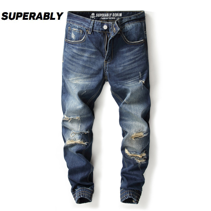Dark Blue Color Fashion Streetwear Men Jeans Jogger Pants Destroyed Ankle Banded Cargo P ...