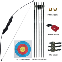 D&Q Archery Recurve Takedown Bow and Arrow Set 30lbs for Youth Adult Beginners Training Practice Wooden Straight Bow Longbow Kit