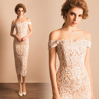 Special offer~ Sexy Boat Neck Off the Shoulder White Lace Mother of the Bride Dress/Sexy Sheat Party Dress 1048