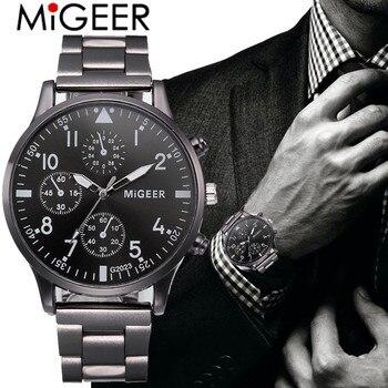 Watch Men Fashion 2019 Crystal Stainless Steel Analog Quartz Wrist Watch Bracelet Relogios Masculino erkek kol saati zegarek S7