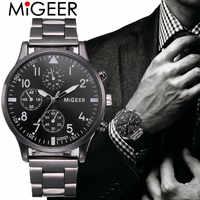 Relógio masculino moda 2019 cristal aço inoxidável analógico quartzo relógio de pulso pulseira relogios masculino erkek kol saati zegarek s7