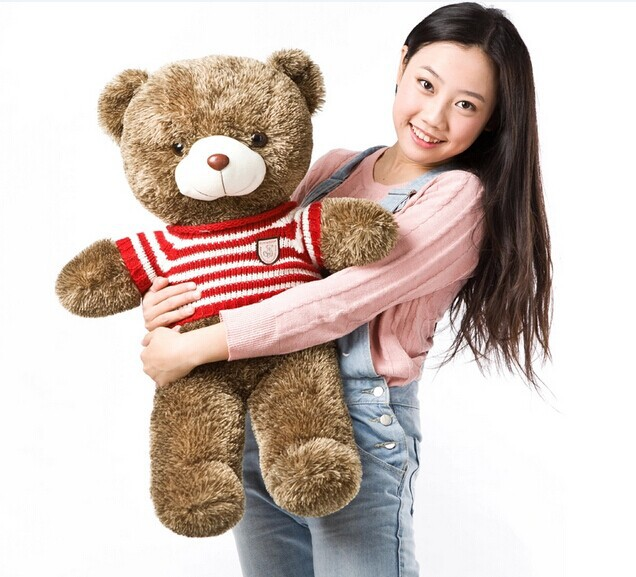 Stuffed animal 70cm stripes sweater Teddy bear plush toy soft doll gift w1697 new stuffed khaki sweater teddy bear plush 120 cm doll 47 inch toy gift wb4236