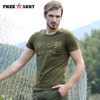Free Army T Shirt Male Top Quality Cotton Army Green Casual Printing Short Sleeve T Shirt Men Brand Clothing Fashion T-Shirt 4
