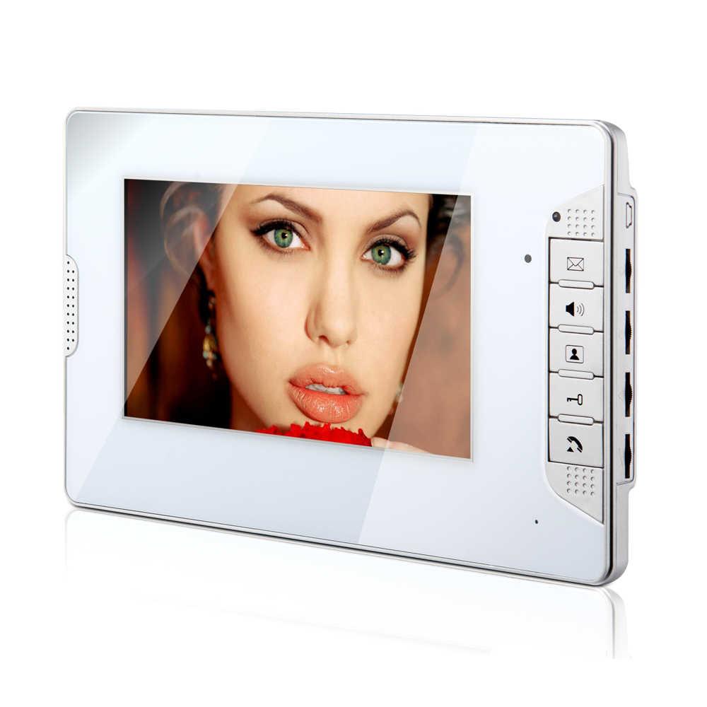 """السلكية شقة 7 """"شاشة ملونة الفيديو باب الهاتف إنترفون كيت ل 2 الأسرة + RFID التحكم + قفل كهربائي + الطاقة شحن مجاني"""