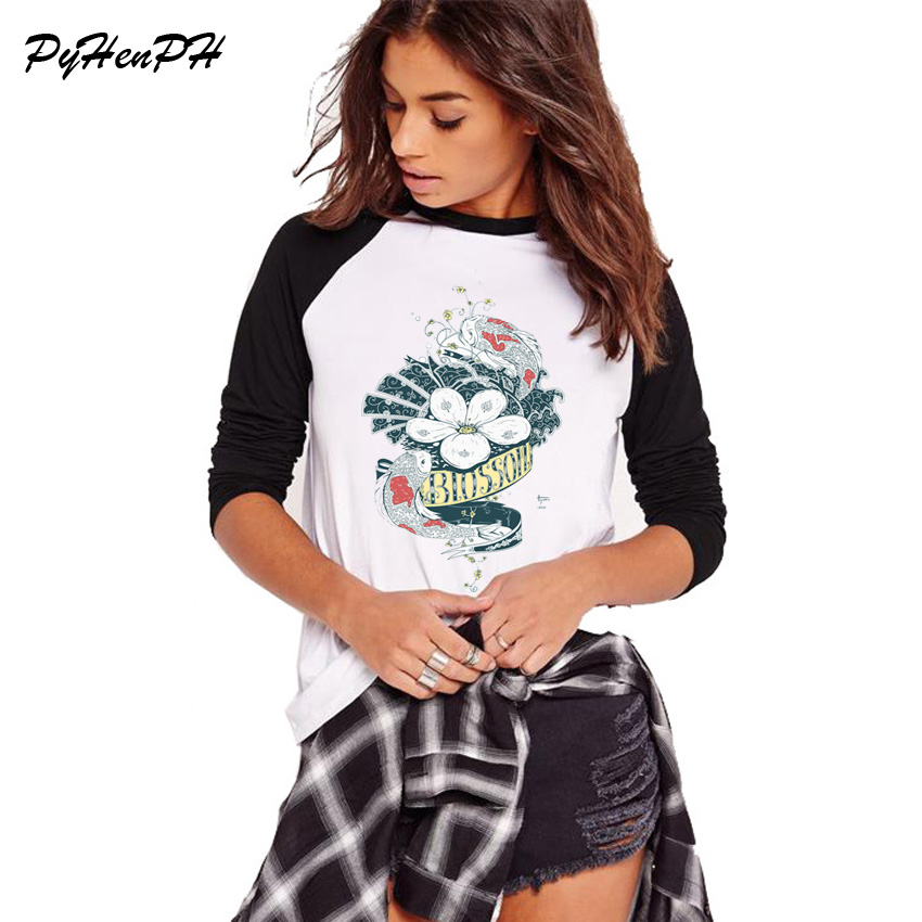 T-shirts Pyhenph Brand Autumn Elegant Fish And Flower Printed T-shirt Women Long Sleeve Loose Big Size T Shirt Women Cool Tee Tops Choice Materials
