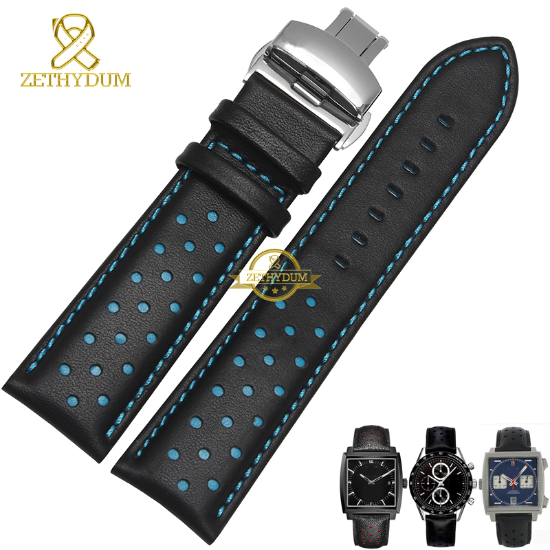 Genuine leather watchband charm leather bracelet sport watch strap 20 22mm mens wristwatches band belts black blue red stitched