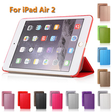 Case For iPad 6 / Air 2 Silk Pattern Folding Flipping Auto-sleep PU Leather Smart Cover Fashion Ultra-thin Intelligent Sleeping
